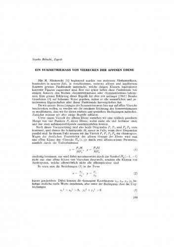 Ein Symmetriemass von Vierecken der affinen Ebene