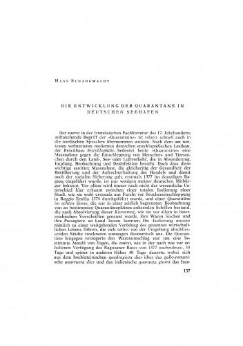 Die Entwicklung der Quarantäne in Deutschen Seehäfen