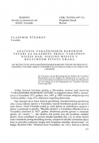 Značenje Varaždinskih baroknih večeri za glazbenu školu Varaždin, njezin rad, njezino mjesto u kulturnom životu grada : Radovi Zavoda za znanstveni rad Varaždin