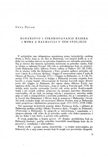 Rudarstvo i iskorišćivanje rijeka i mora u Dalmaciji u XVIII stoljeću / Grga Novak