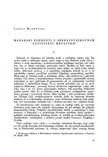 Mađarski elementi u srednjovjekovnom latinitetu Hrvatske / Laszlo Hadrovics