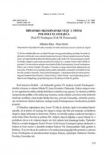 Hrvatsko-skandinavske veze u prvoj polovici XV. stoljeća (Ivan VI. Frankapan i Erik VII. Pomeranski) / Mladen Ibler, Petar Strčić