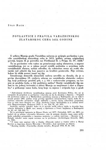 Povlastice i pravila varaždinskog zlatarskog ceha 1613. godine / Ivan Bach