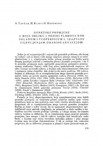 Genetske promjene u boji, obliku i težini plodova kod Solanum lycopersicum L. izazvane cijepljenjem (transplantacijom)