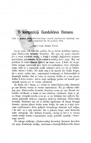 O kompoziciji Gundulićeva Osmana : RAD