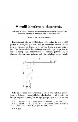 O teoriji Michelsonova eksperimenta.