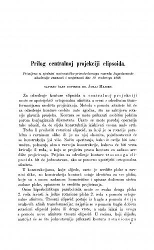 Prilog centralnoj projekciji elipsoida