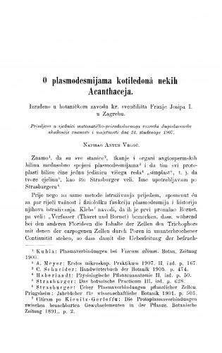 O plasmodesmijama kotiledonâ nekih Acanthaceja