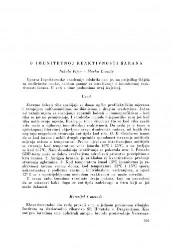 O imunitetnoj reaktivnosti šarana / N. Fijan i S. Cvetnić