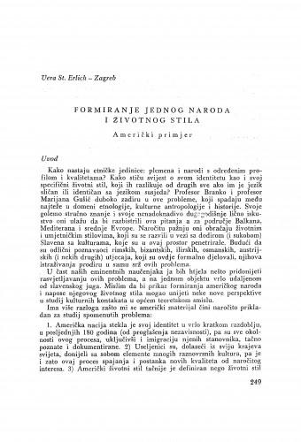Formiranje jednog naroda i životnog stila : američki primjer / V. St. Erlich