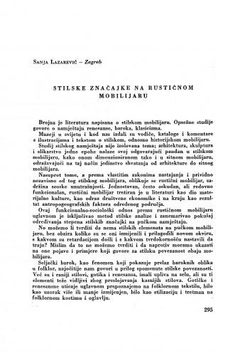 Stilske značajke na rustičnom mobilijaru / S. Lazarević