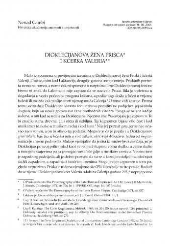 Dioklecijanova žena Prisca i kćerka Valeria