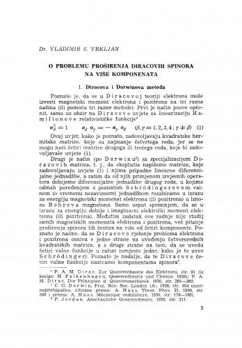 O problemu proširenja Diracovih spinora na više komponenata