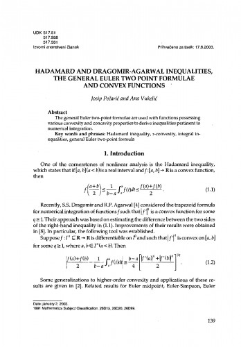 Hadamard and Dragomir-Agarwal inequalities, the general Euler two point formulae and convex functions