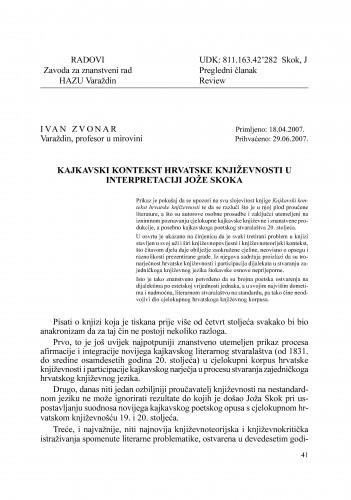 Kajkavski kontekst hrvatske književnosti u interpretaciji Jože Skoka : Radovi Zavoda za znanstveni rad Varaždin