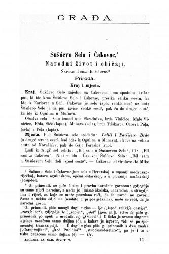 Šušńevo Selo i Čakovac : narodni život i običaji : Zbornik za narodni život i običaje