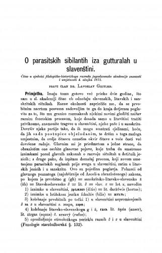 O parasitskih sibilantih iza gutturalah u slavenštini : RAD