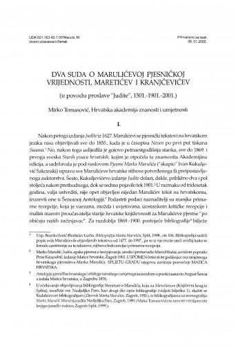 Dva suda o Marulićevoj pjesničkoj vrijednosti, Maretićev i Kranjčevićev