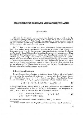 Zur projektiven Kinematik von Raumkurvenpaaren