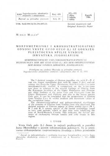 Morfometrijski i kronostratigrafski odnosi vrste Gulo gulo (L.) iz gornjeg pleistocena spilje Vindije (Hrvatska, Jugoslavija)