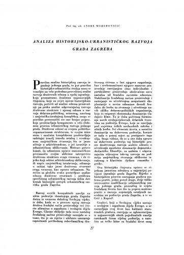 Analiza historijsko-urbanističkog razvoja grada Zagreba