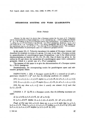 Desargues systems and Ward quasigroups