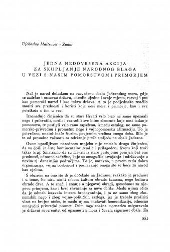 Jedna nedovršena akcija za skupljanje narodnog blaga u vezi s našim pomorstvom i primorjem / V. Maštrović