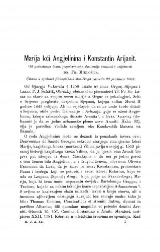 Marija kći Angjelinina i Konstantin Arijanit : RAD