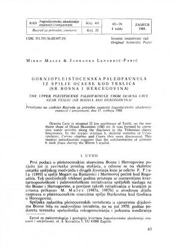 Gornjopleistocenska paleofaunula iz spilje Očauše kod Teslića (SR Bosna i Hercegovina)