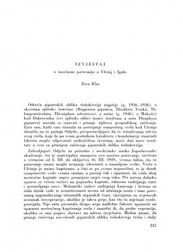 Izvještaj o naučnom putovanju u Ulcinj i Igalo / Z. Klas