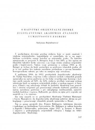 O razvitku Orijentalne zbirke Jugoslavenske akademije znanosti i umjetnosti u Zagrebu / S. Bajraktarević