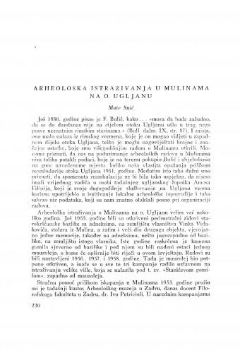 Arheološka istraživanja u Mulinama na o. Ugljanu / M. Suić