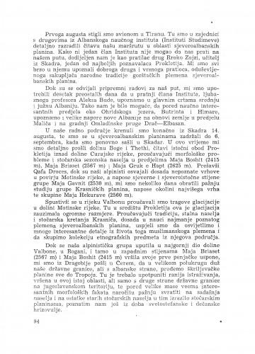Naučna ekskurzija u sjeveroalbanske planine / B. Gušić