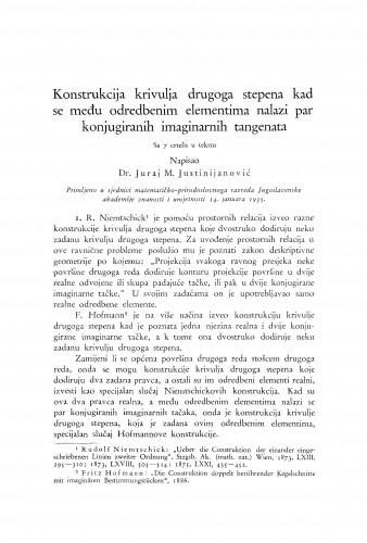 Konstrukcija krivulja drugoga stepena kad se među odredbenim elementima nalazi par konjugiranih imaginarnih tangenata