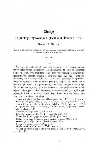 Studije iz pučkoga vjerovanja i pričanja u Hrvatâ i Srbâ