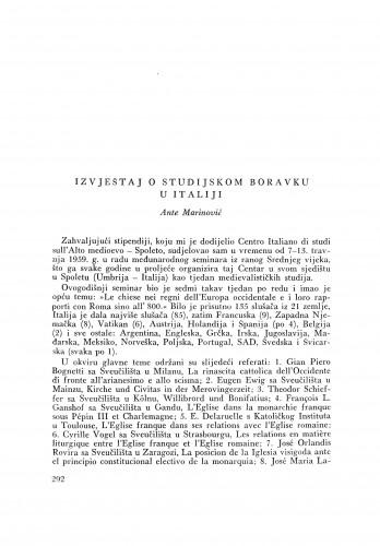Izvještaj o studijskom boravku u Italiji / A. Marinović