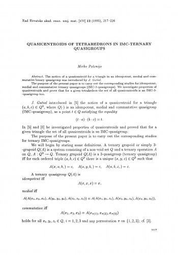 Quasicentroids of tetrahedrons in IMC-ternary quasigroups