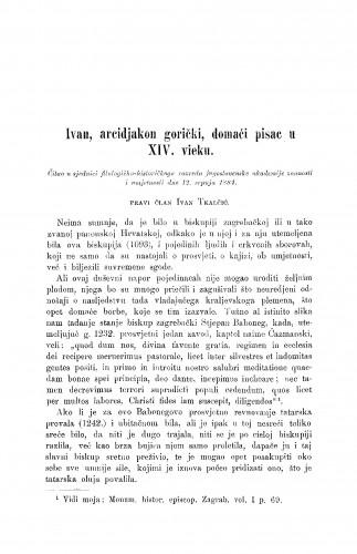 Ivan, arcidjakon gorički, domaći pisac u XIV. vieku
