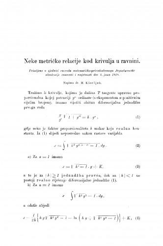 Neke metričke relacije kod krivulja u ravnini