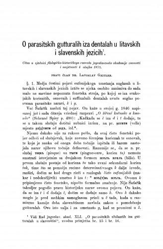 O parasitskih gutturalih iza dentalah u litavskih i slavenskih jezicih : RAD