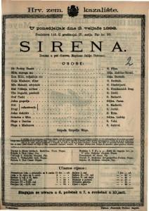 Sirena Drama u pet činova / Napisao Julijo Rorauer