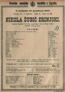 Nikola Šubić Zrinjski glazbena trageidja u tri čina (osam slika) / uglazbio Ivan pl. Zajc