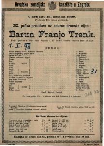 Barun Franjo Trenk pučki igrokaz u četiri čina / napisao J.E. Tomić