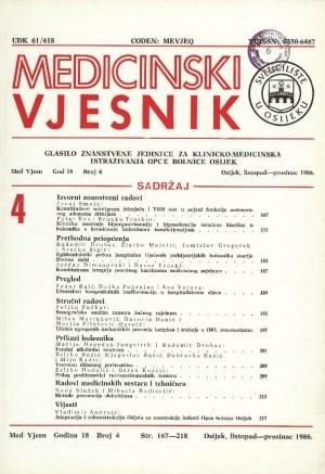 God. 18, br. 4(1986) : Medicinski vjesnik