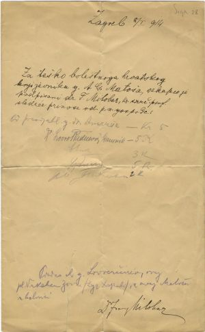 Zapis o novčanim donacijama za A. G. Matoša koje je skupio dr. Franjo Milobar