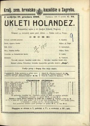 Ukleti Holandez Romantična opera u tri čina / Napisao R. Wagner