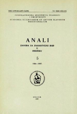 Knj. 5(1986/1987) : Anali Zavoda za znanstveni i umjetnički rad u Osijeku