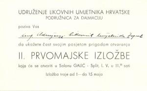 Pozivnica za II. Prvomajsku izložbu u Splitu
