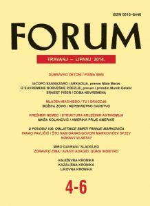 God. 53(2014), knj. 86, br. 4-6 (travanj-lipanj) : Forum : mjesečnik Razreda za književnost Hrvatske akademije znanosti i umjetnosti.