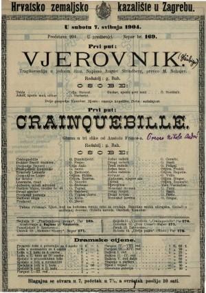 Vjerovnik tragikomedija u jednom činu / napisao August Strindberg